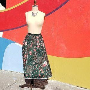 Handmade Roses Quilt Print Skirt, Sz M/L